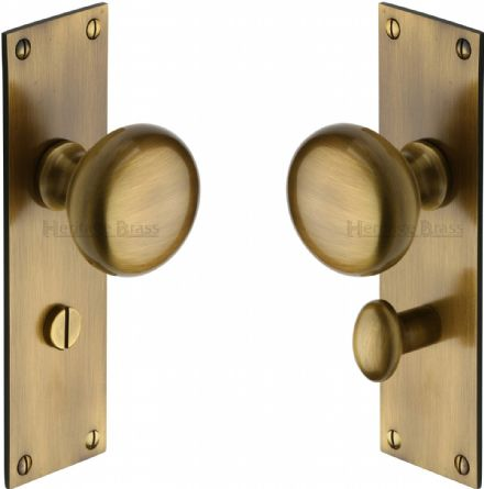 M Marcus Heritage Brass BAL8530AT Balmoral Mortice Knob On Bathroom Backplate Antique Brass